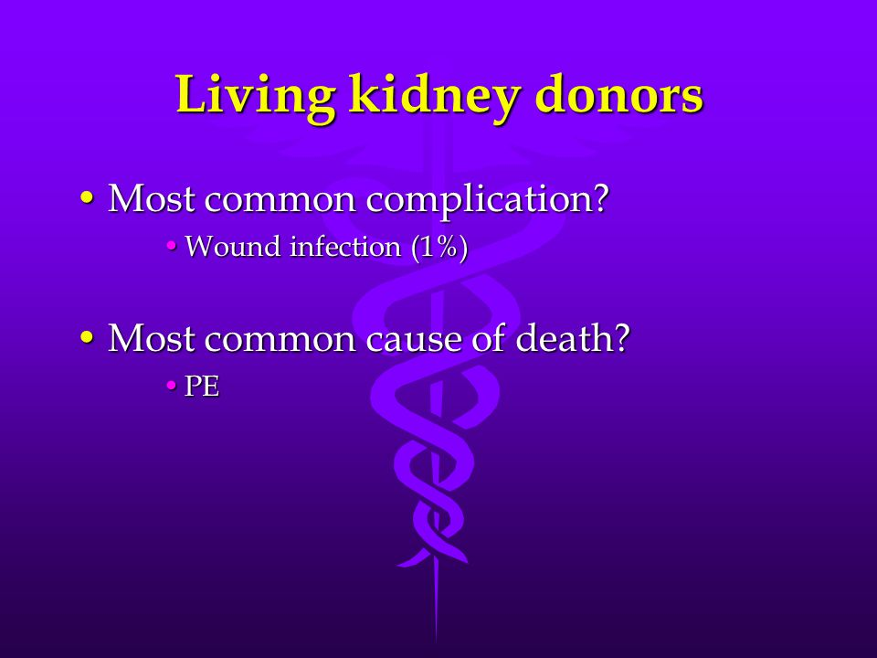 Living kidney donors Most common complication