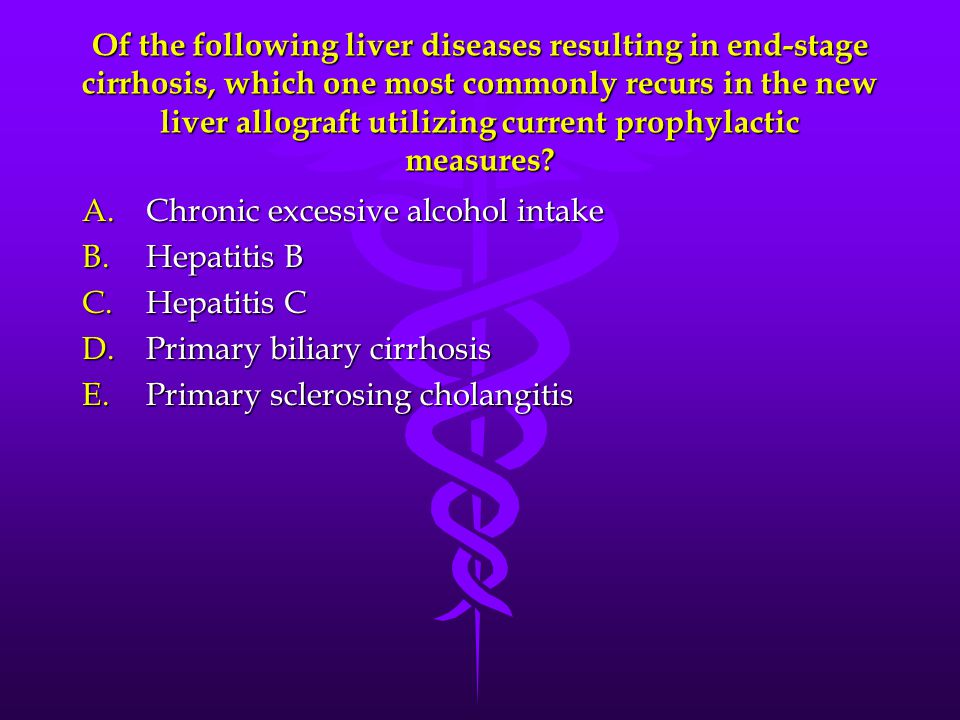 Of the following liver diseases resulting in end-stage cirrhosis, which one most commonly recurs in the new liver allograft utilizing current prophylactic measures