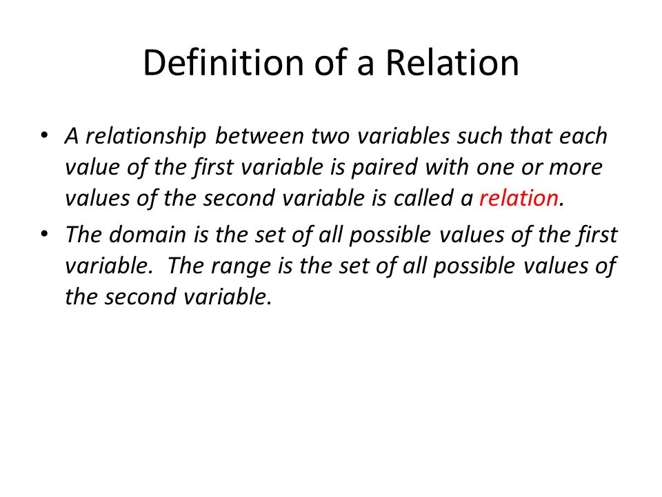 Definition of a Relation