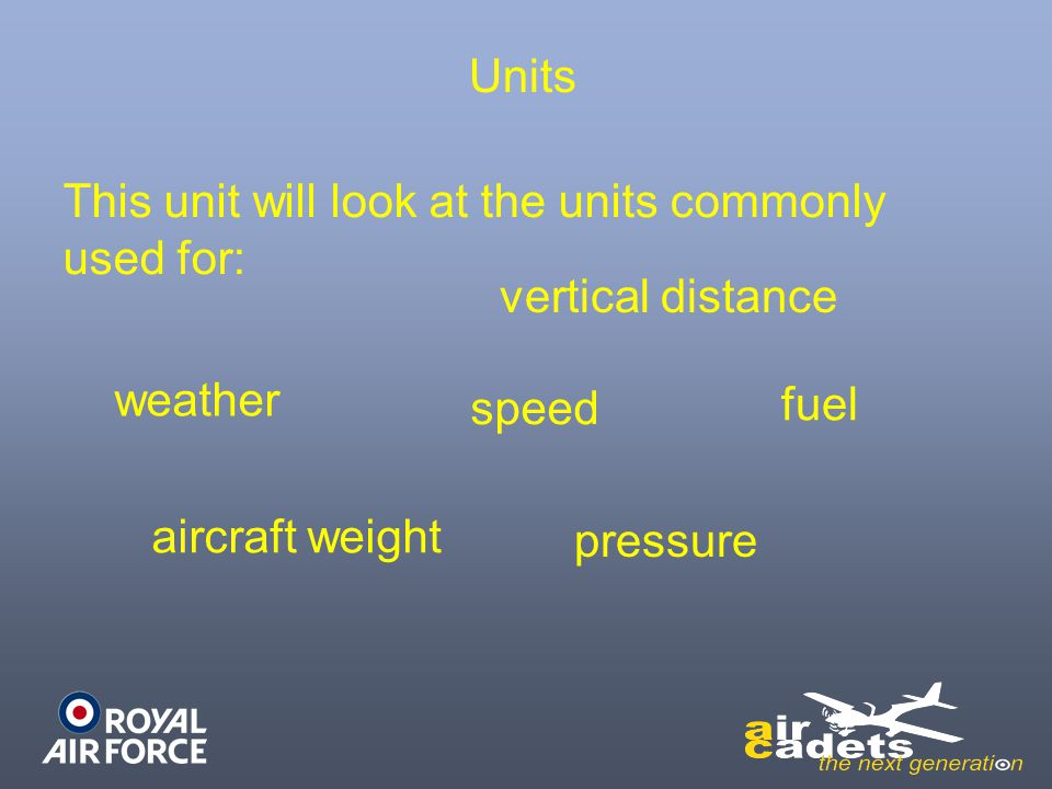 Units This unit will look at the units commonly used for: vertical distance. weather. speed. fuel.