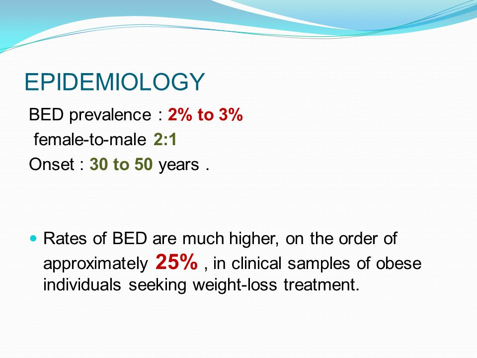 EPIDEMIOLOGY BED prevalence : 2% to 3% female-to-male 2:1