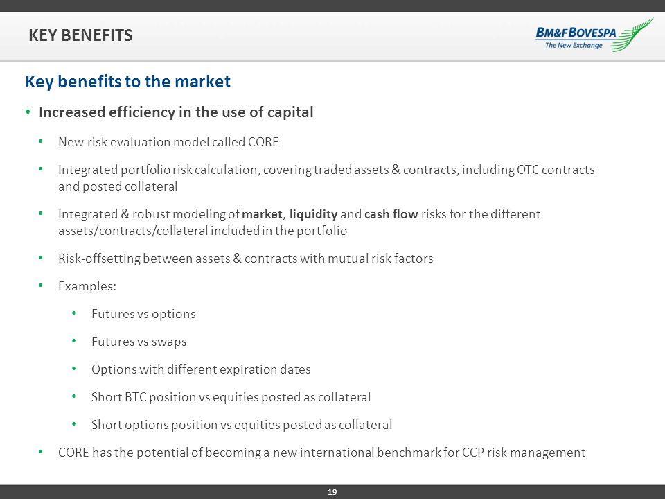 Key benefits to the market