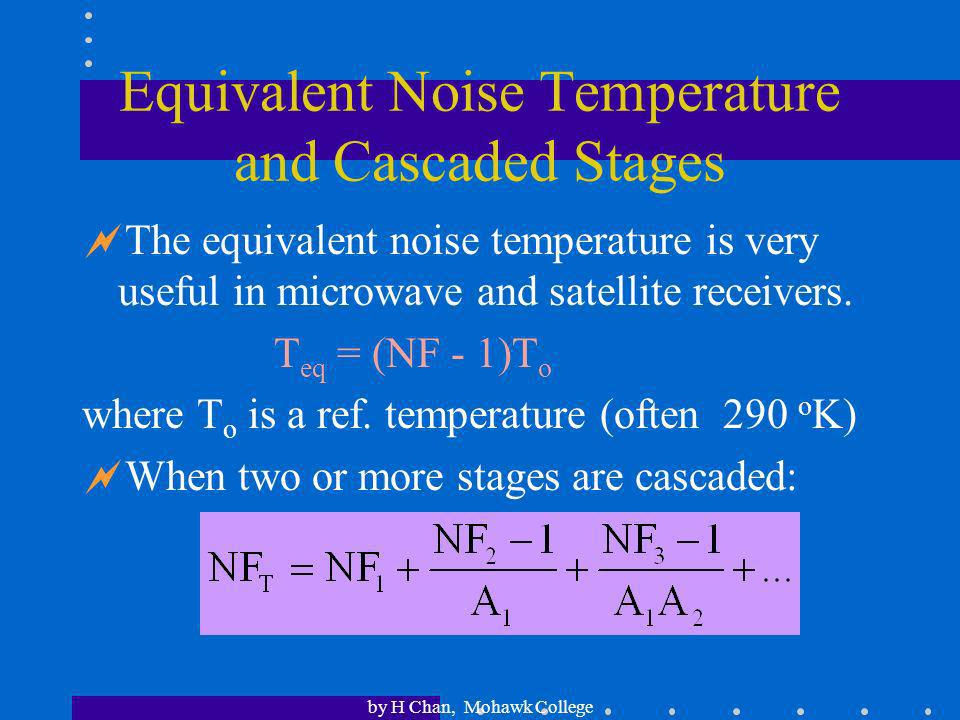 Equivalent Noise Temperature and Cascaded Stages