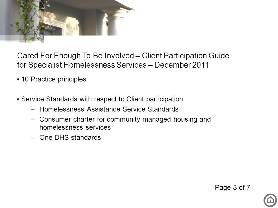 Cared For Enough To Be Involved – Client Participation Guide for Specialist Homelessness Services – December 2011