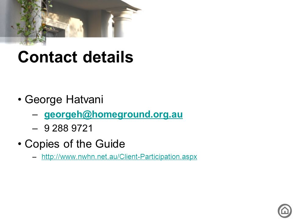 Contact details George Hatvani Copies of the Guide