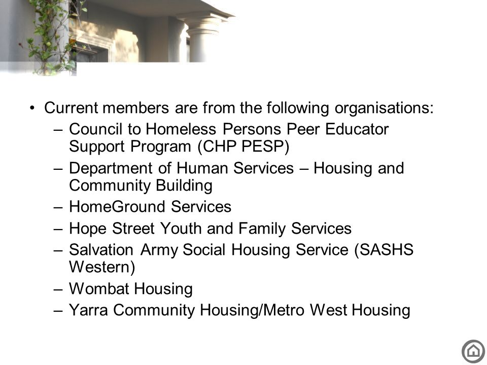 Current members are from the following organisations: