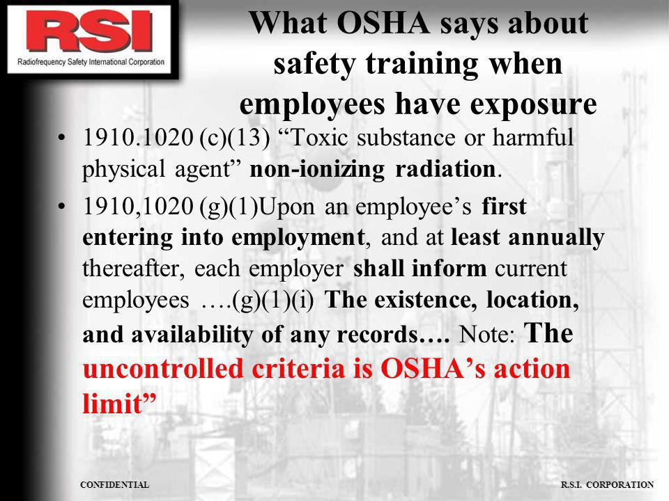 What OSHA says about safety training when employees have exposure