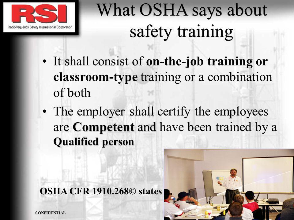 What OSHA says about safety training