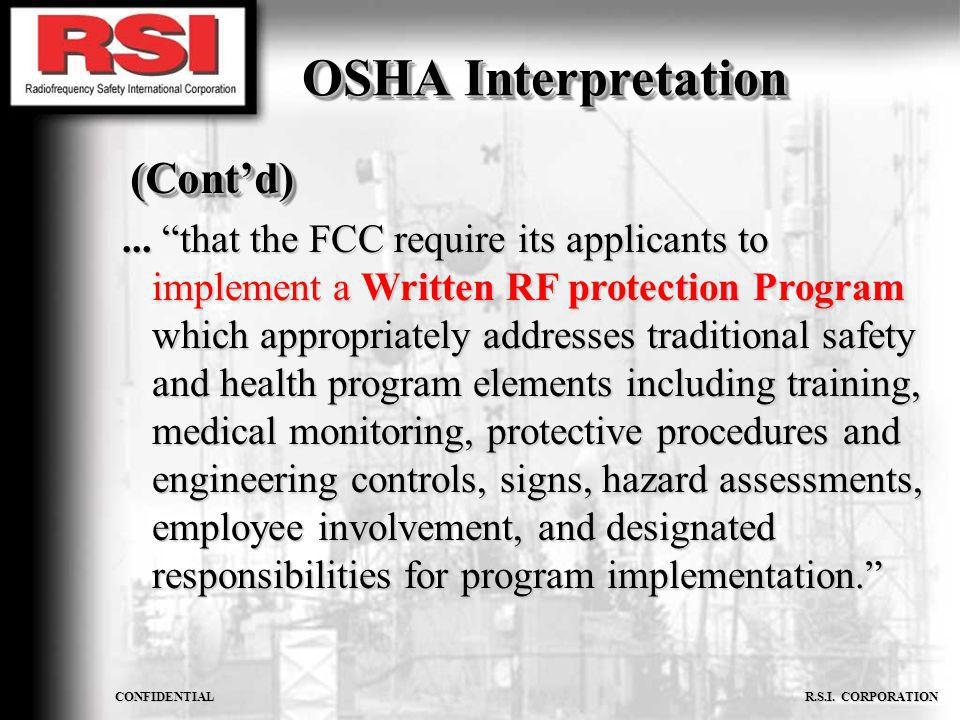 OSHA Interpretation (Cont'd)