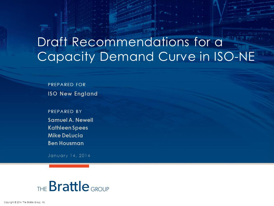 Draft Recommendations for a Capacity Demand Curve in ISO-NE