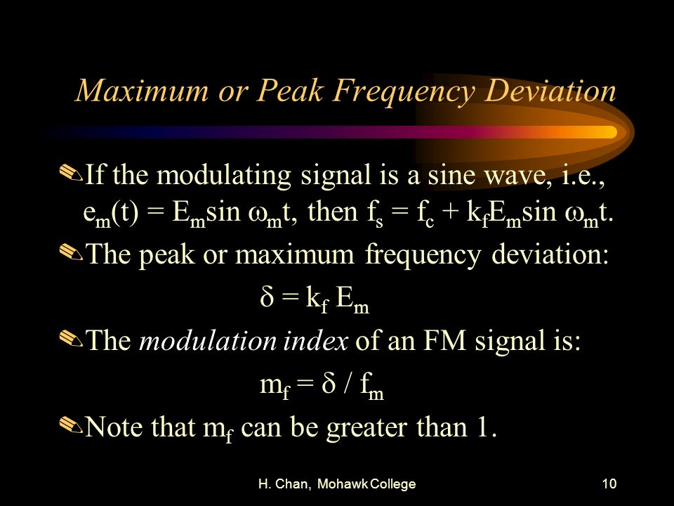 Maximum or Peak Frequency Deviation