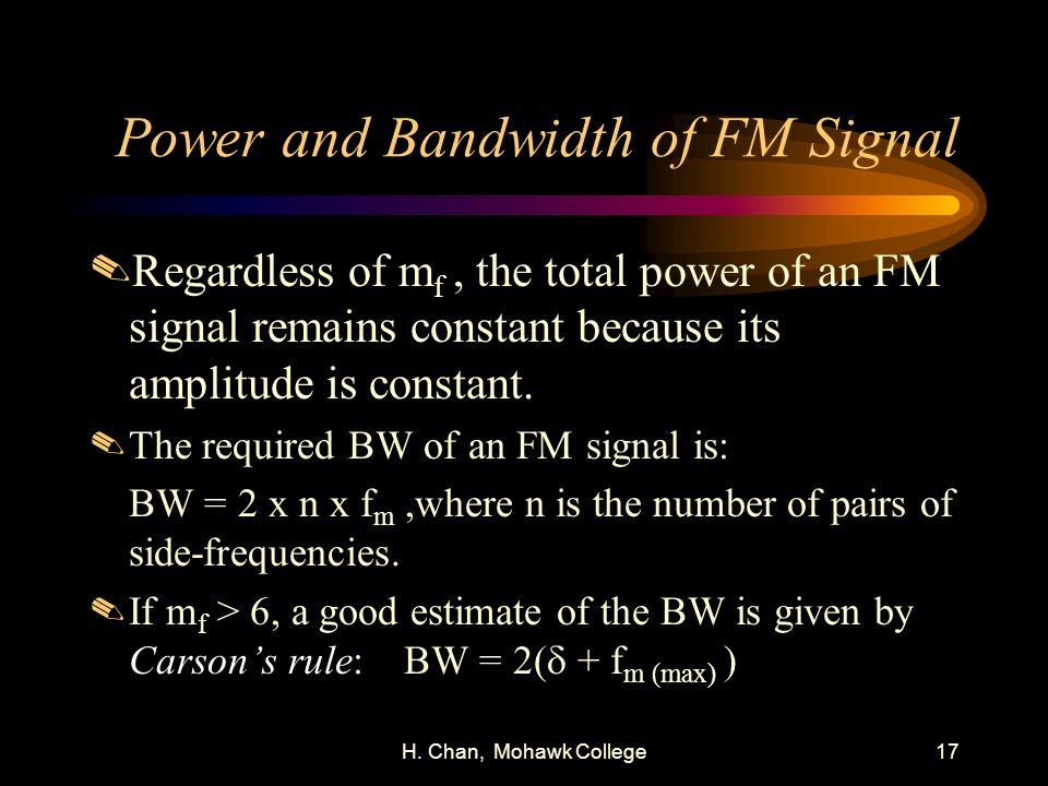 Power and Bandwidth of FM Signal