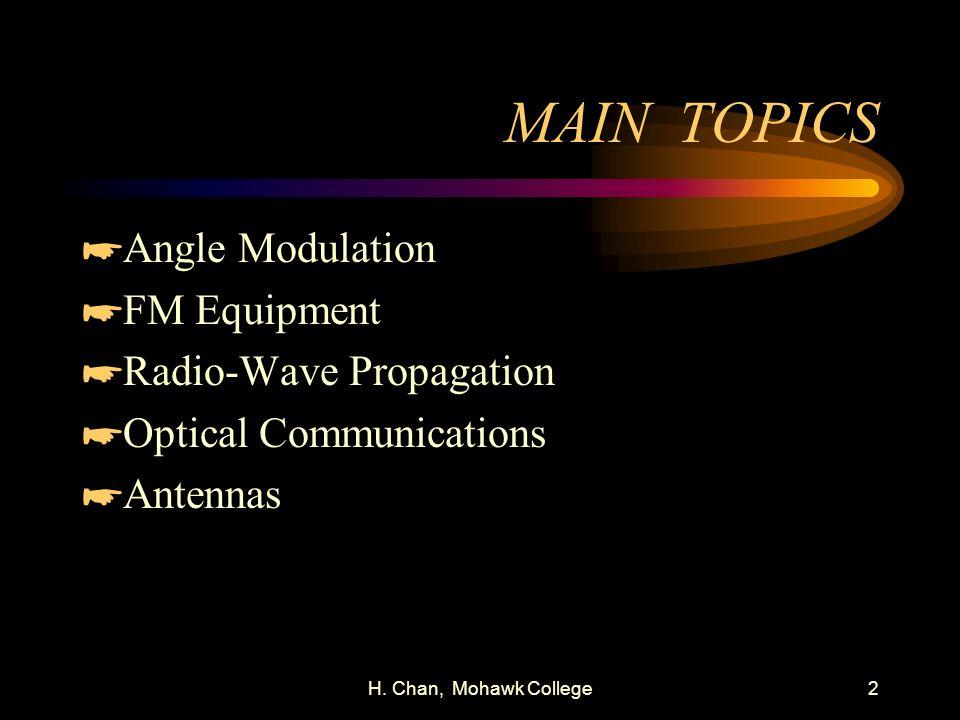 MAIN TOPICS Angle Modulation FM Equipment Radio-Wave Propagation