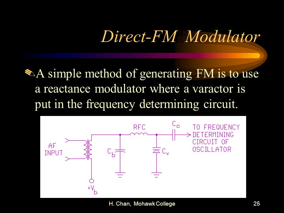 Direct-FM Modulator A simple method of generating FM is to use a reactance modulator where a varactor is put in the frequency determining circuit.