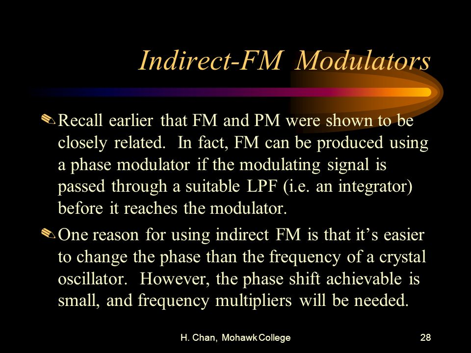 Indirect-FM Modulators