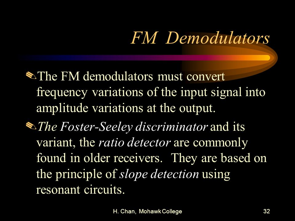 FM Demodulators The FM demodulators must convert frequency variations of the input signal into amplitude variations at the output.