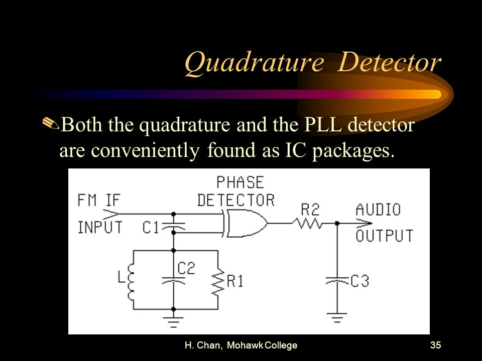 Quadrature Detector Both the quadrature and the PLL detector are conveniently found as IC packages.
