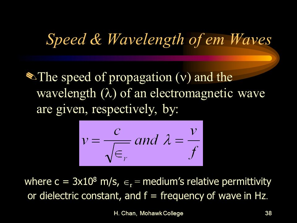 Speed & Wavelength of em Waves