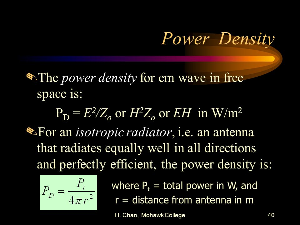 Power Density The power density for em wave in free space is: