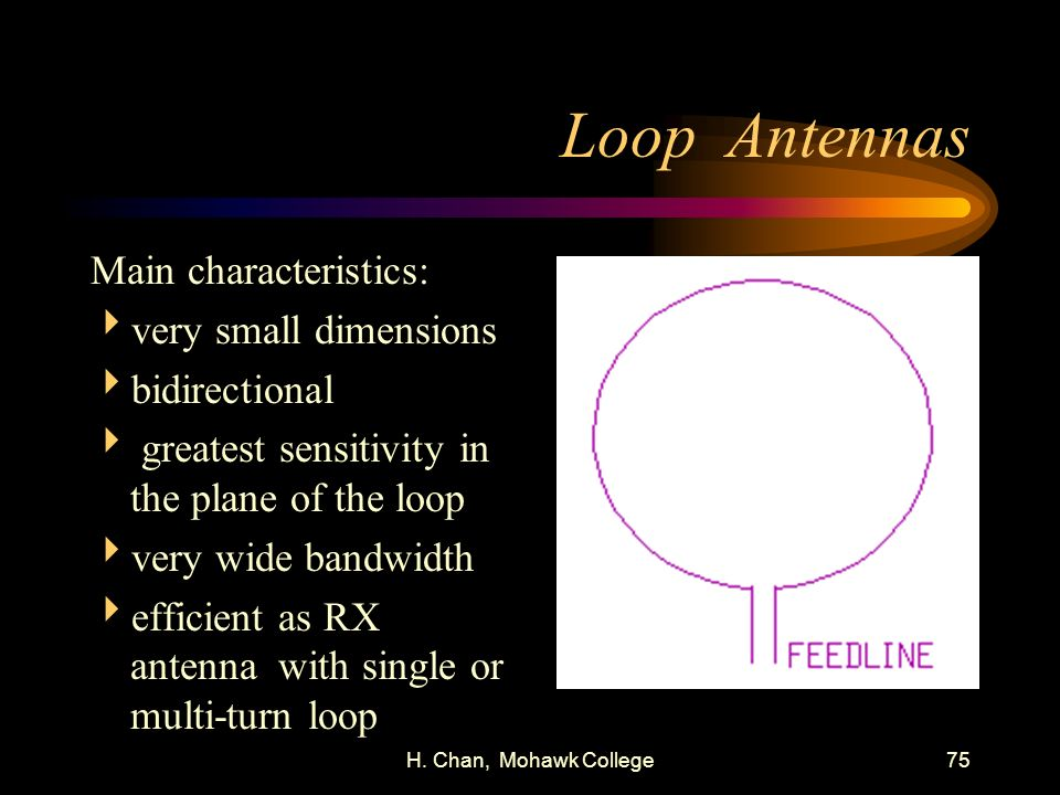 Loop Antennas Main characteristics: very small dimensions