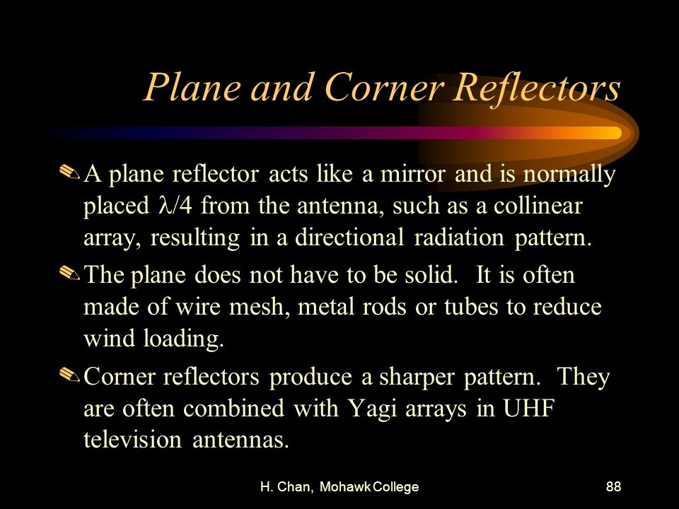 Plane and Corner Reflectors