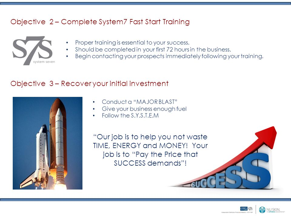 Objective 2 – Complete System7 Fast Start Training