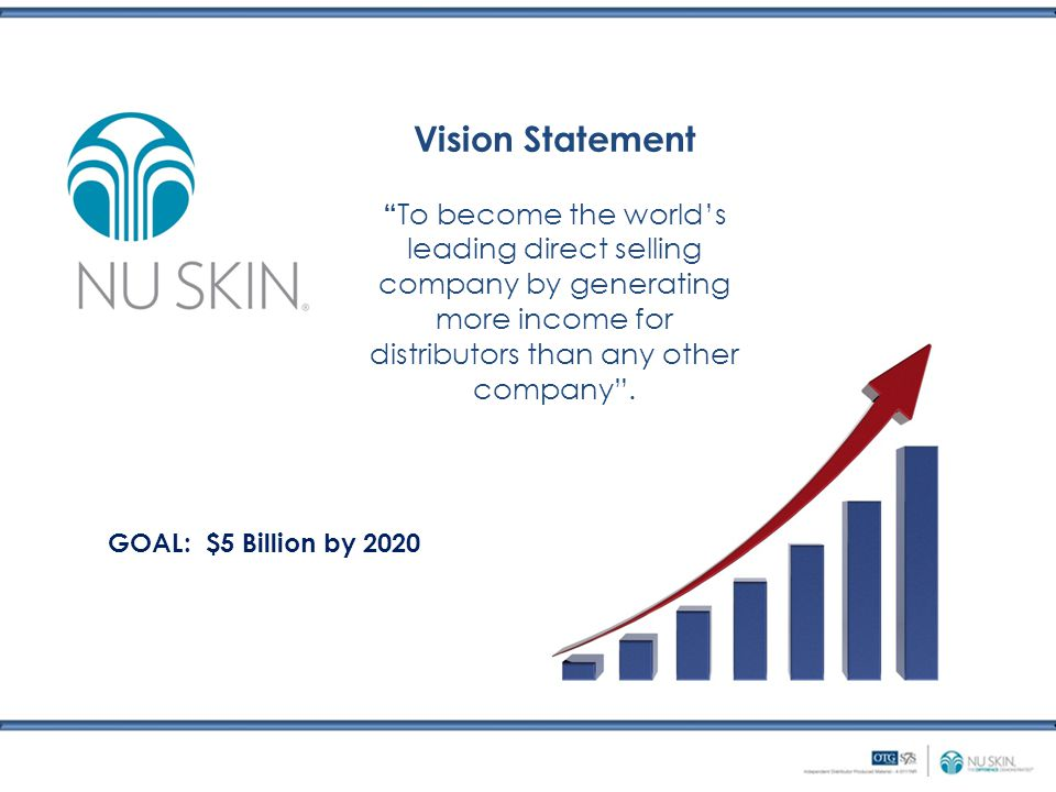 Vision Statement To become the world's leading direct selling company by generating more income for distributors than any other company .