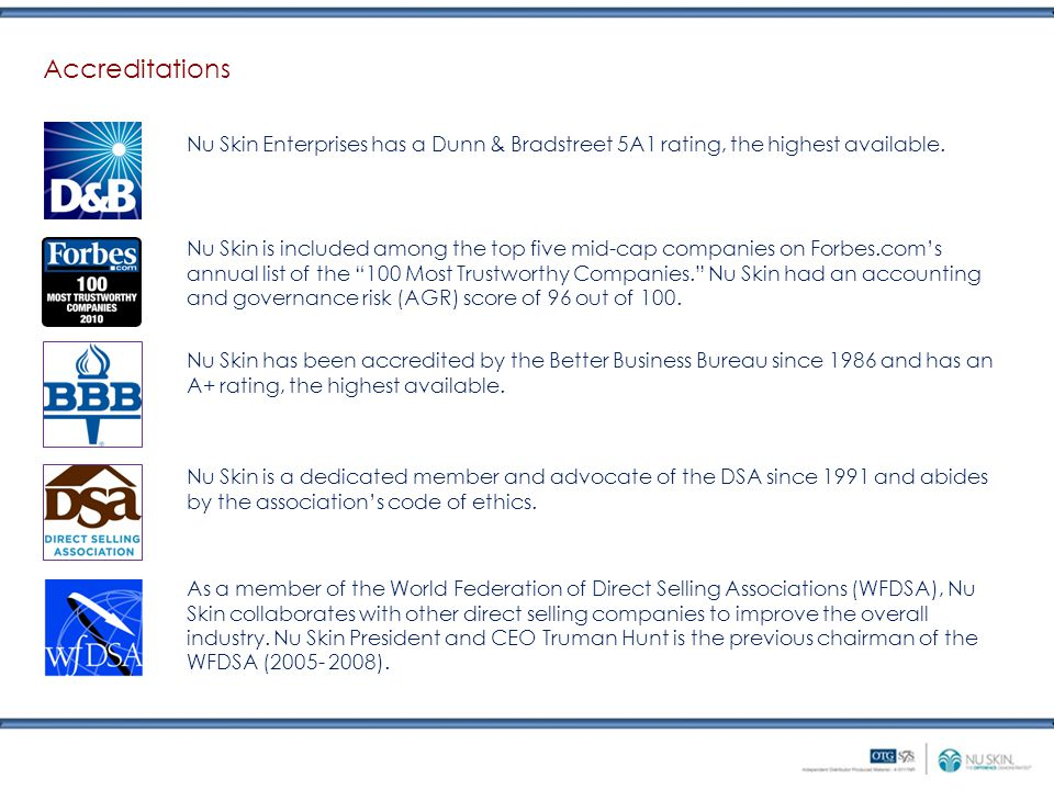 Accreditations Nu Skin Enterprises has a Dunn & Bradstreet 5A1 rating, the highest available.