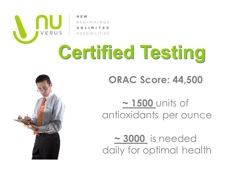 Certified Testing ORAC Score: 44,500 ~ 1500 units of antioxidants per ounce ~ 3000 is needed daily for optimal health.