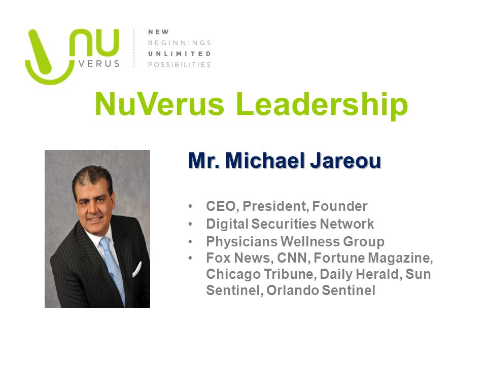 NuVerus Leadership CEO, President, Founder Digital Securities Network