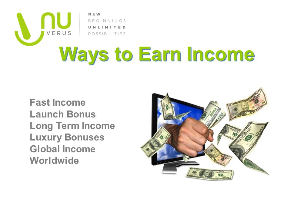 Ways to Earn Income Fast Income Launch Bonus Long Term Income Luxury Bonuses Global Income Worldwide.
