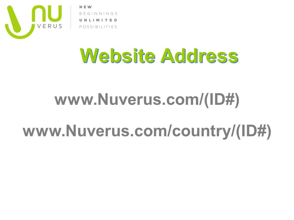 www.Nuverus.com/(ID#) www.Nuverus.com/country/(ID#)