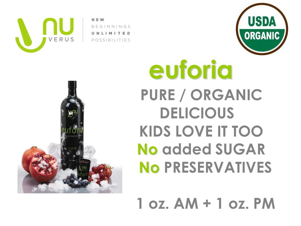 euforia PURE / ORGANIC DELICIOUS KIDS LOVE IT TOO No added SUGAR No PRESERVATIVES 1 oz.