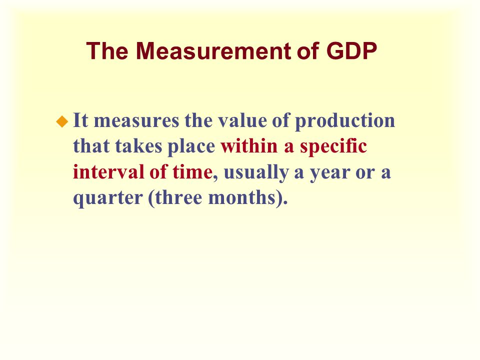 The Measurement of GDP