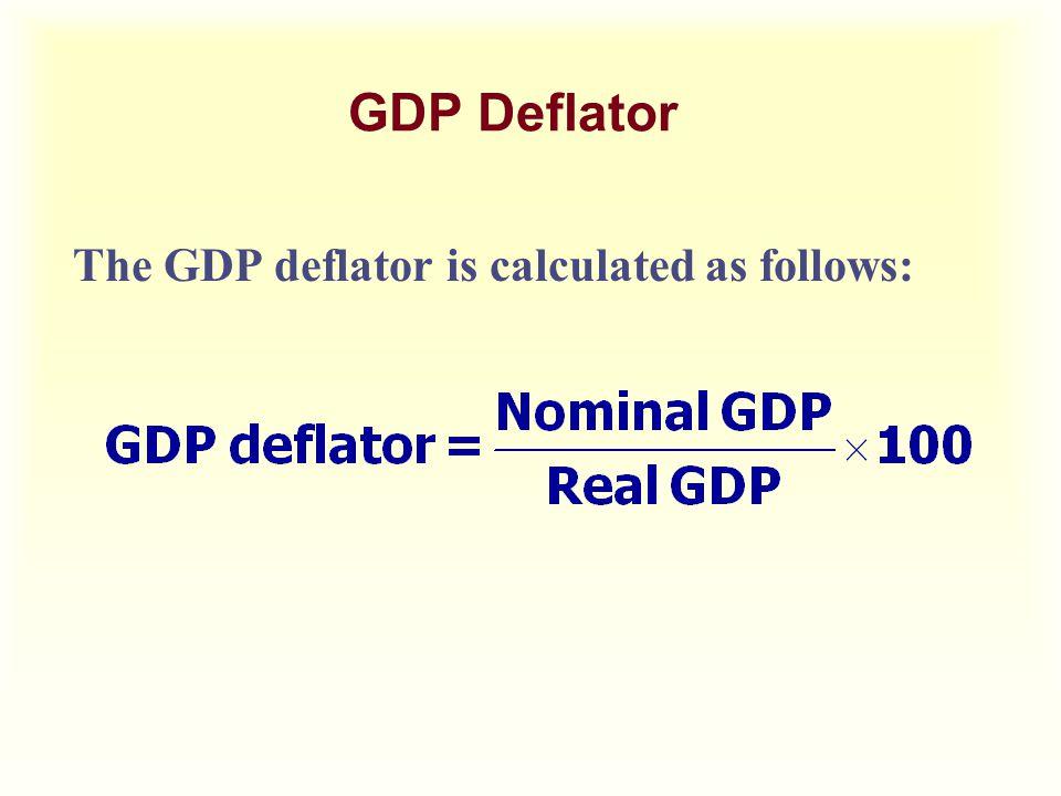 GDP Deflator The GDP deflator is calculated as follows: