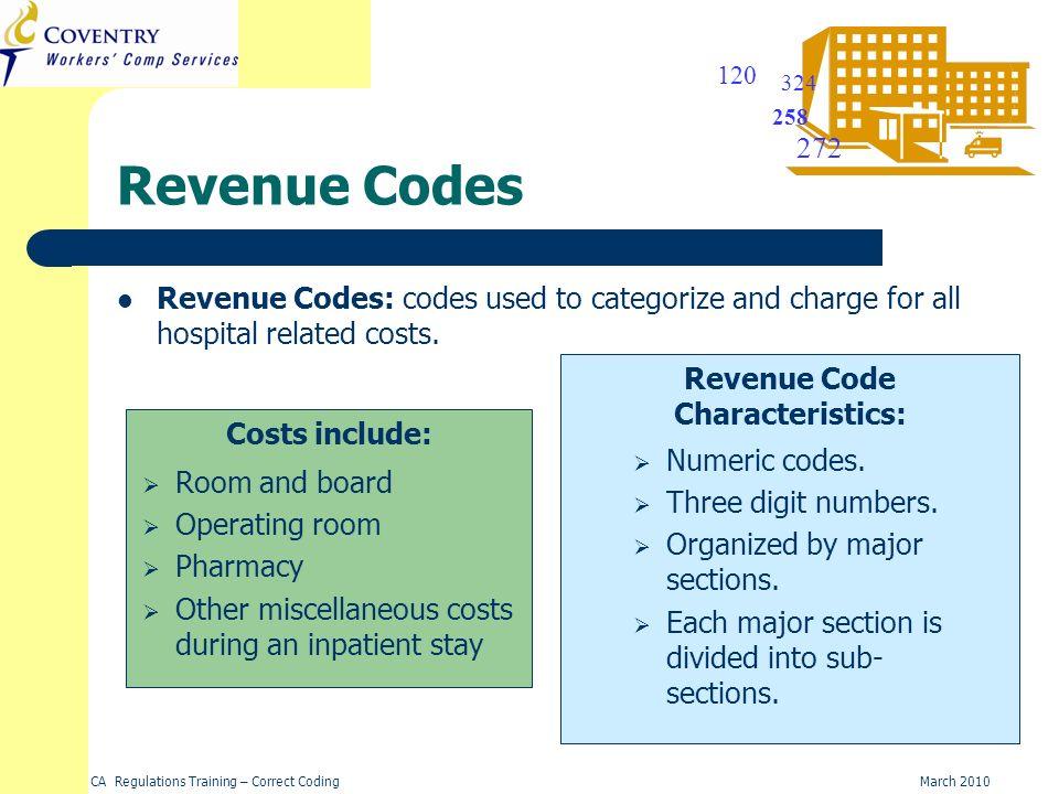 Revenue Code Characteristics: