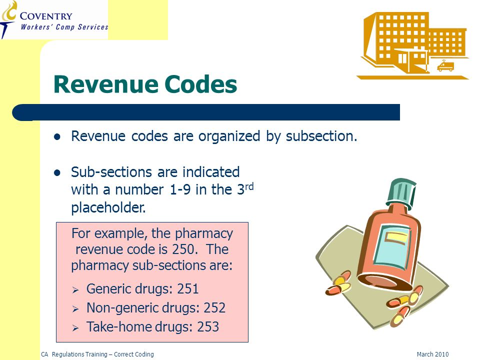 Revenue Codes Revenue codes are organized by subsection.