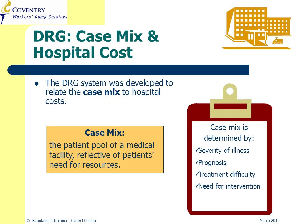 DRG: Case Mix & Hospital Cost