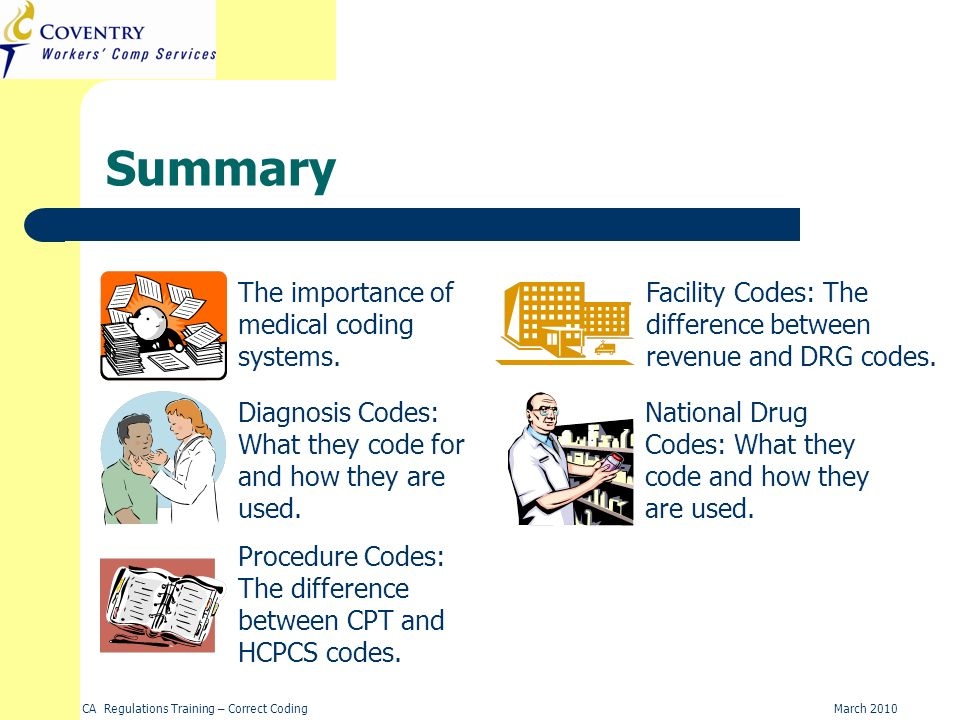 Summary The importance of medical coding systems.