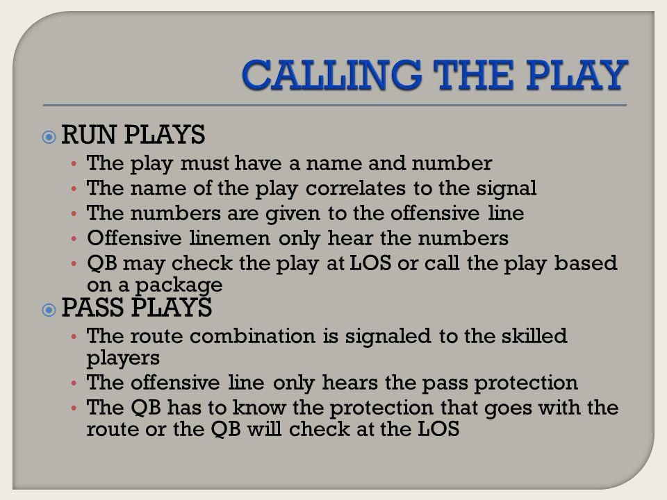 CALLING THE PLAY RUN PLAYS PASS PLAYS