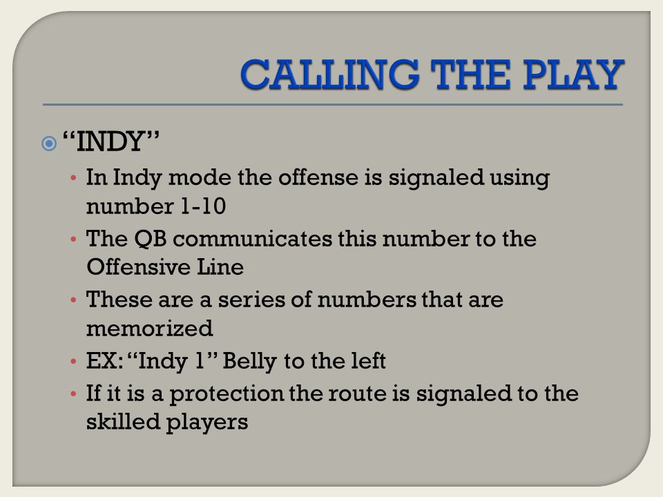 CALLING THE PLAY INDY