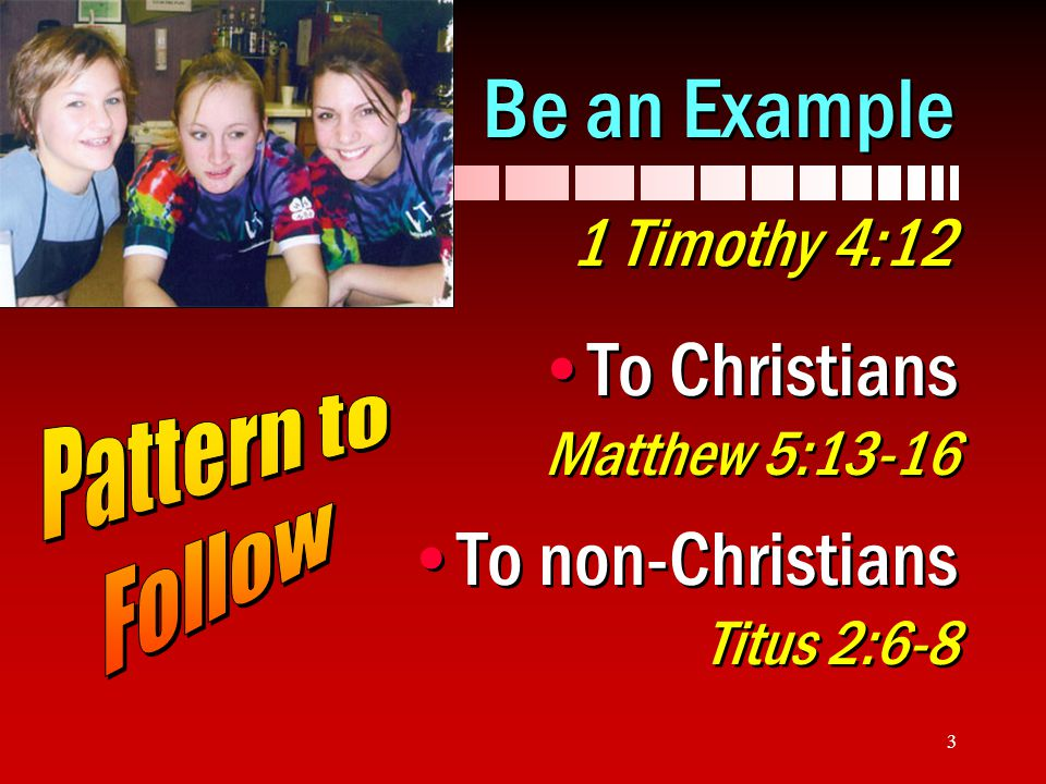 Be an Example 1 Timothy 4:12 To Christians Matthew 5:13-16