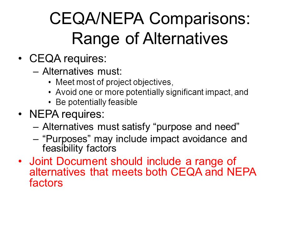 CEQA/NEPA Comparisons: Range of Alternatives