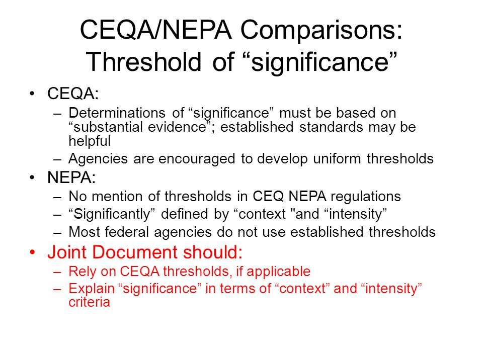 CEQA/NEPA Comparisons: Threshold of significance
