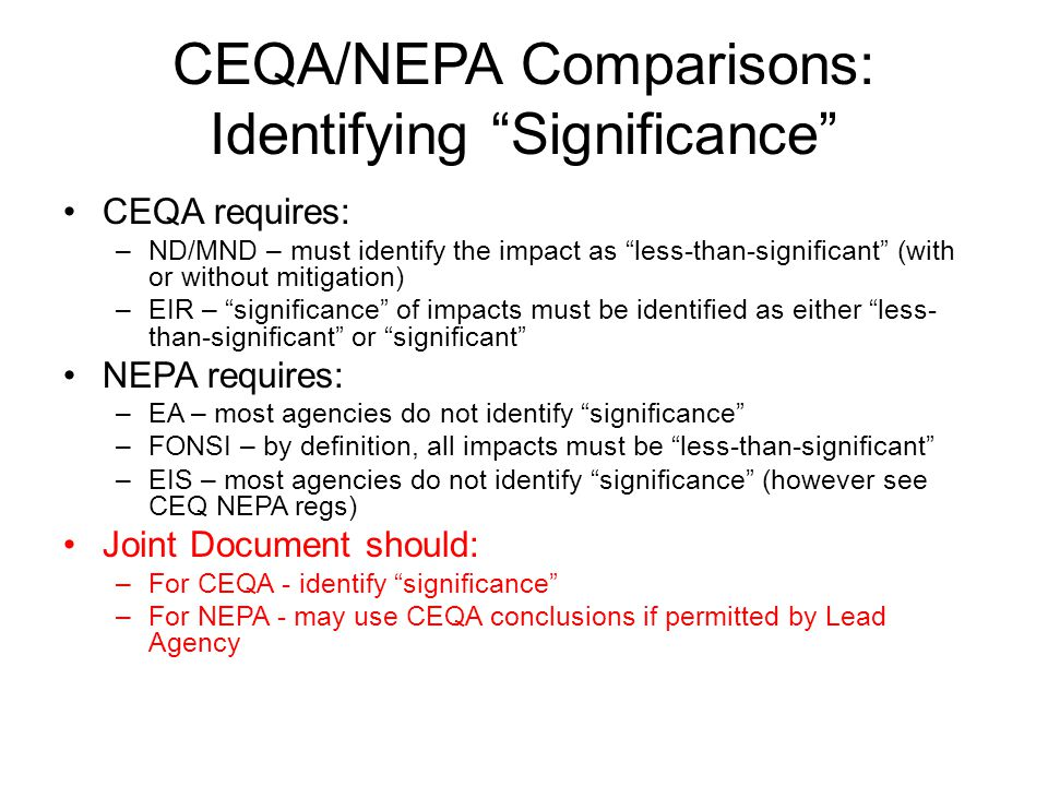 CEQA/NEPA Comparisons: Identifying Significance