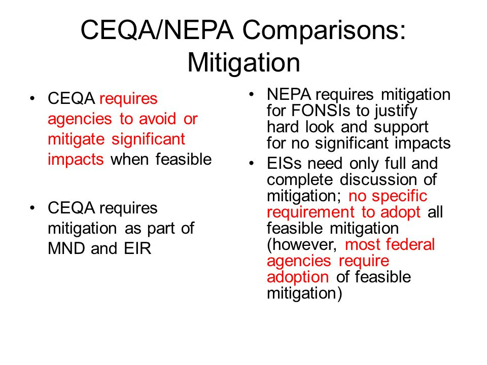CEQA/NEPA Comparisons: Mitigation