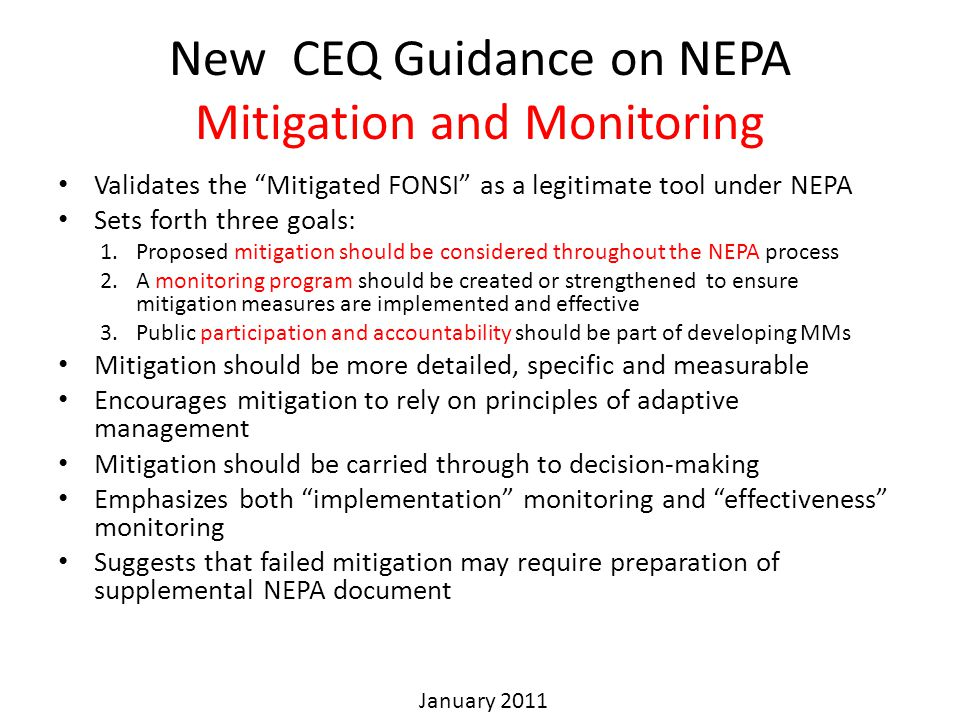 New CEQ Guidance on NEPA Mitigation and Monitoring