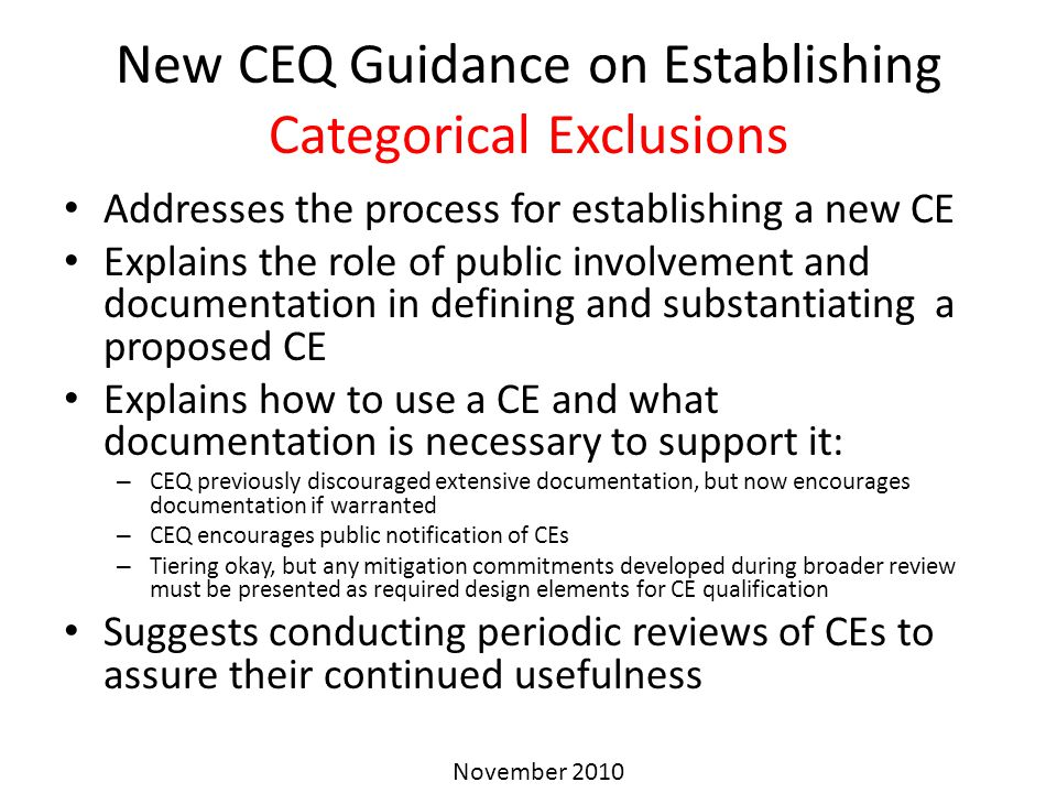 New CEQ Guidance on Establishing Categorical Exclusions