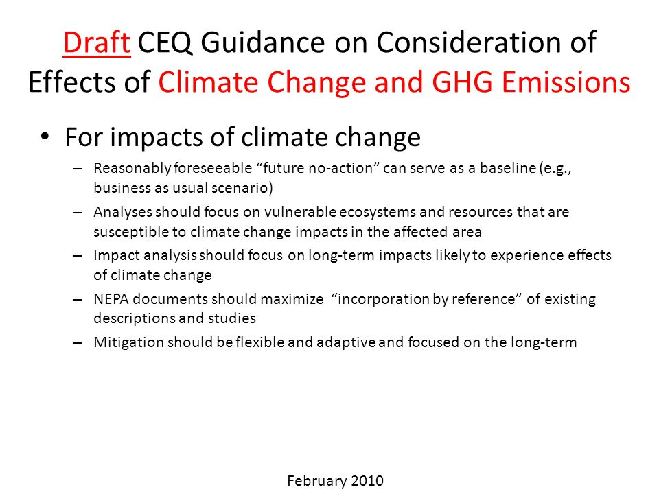 Draft CEQ Guidance on Consideration of Effects of Climate Change and GHG Emissions