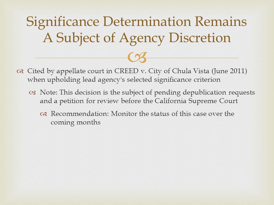 Significance Determination Remains A Subject of Agency Discretion